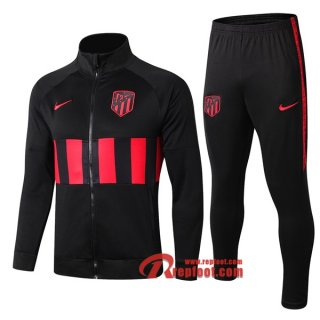 Ensemble Veste Survetement Atletico Madrid Noir/Rouge 2019-2020 Nouveau
