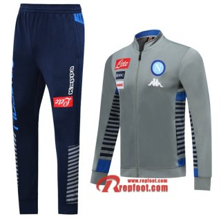 Ensemble Du Veste Survetement SSC Naples Gris 2019/2020 Nouveau
