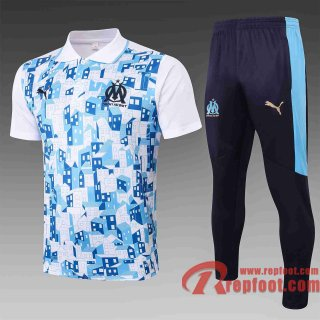 Olympique Marseille Polo de foot 20 21 Blanc C522#